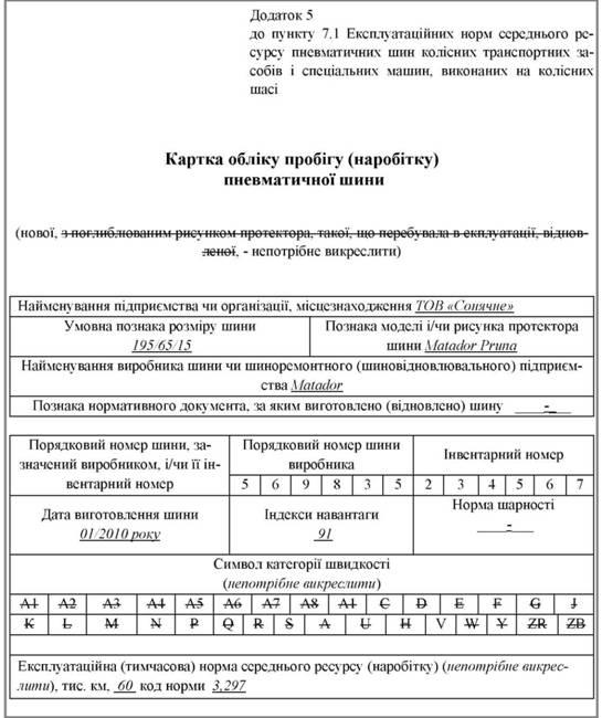 бланк картка обліку роботи автомобільної шини img-1