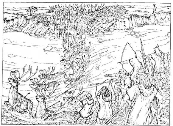 Охота на северных оленей на речной переправе в Полесье