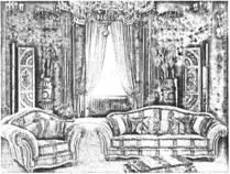 Интерьер помещения комнаты в неоренессансном стиле