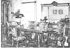 Интерьер помещения комнаты в неоренессансном стиле с использованием мебели барочного стиля
